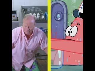 Spongebob & patrick's voice actors perfectly recreate the classic jar scene irl