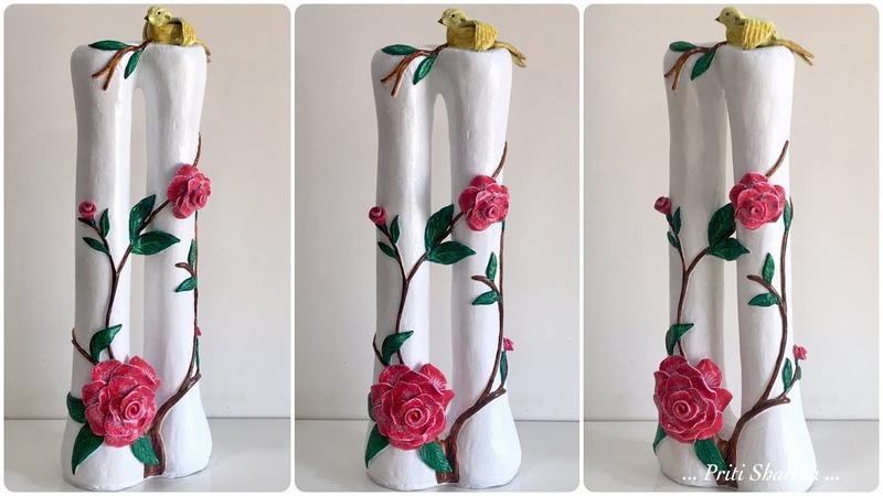 How To Make Stylish Flower Vase 23 Handmade Flower Pot With Bird And Rose Flowers Priti Sharma