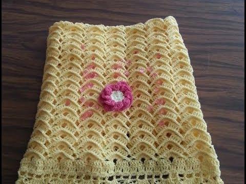 Cobijita tejida a gancho I puntada ondas en relieve