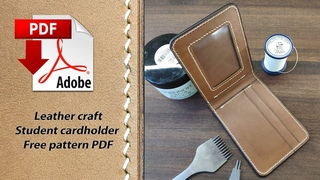 (Leather craft) Student cardholder PDF Free pattern  / Студентческий кадхолдер. Выкройка PDF