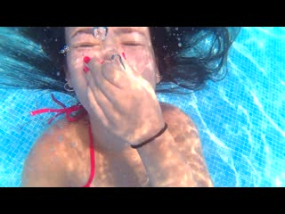 Pool day underwater swimming and breath hold