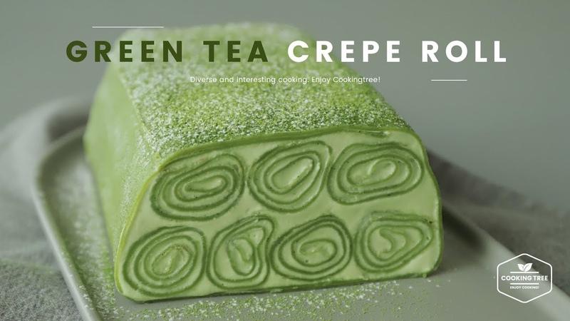 녹차🌿 크레이프 롤케이크 만들기 Green tea Crepe Roll Cake Recipe Cooking tree 쿠킹트리*Cooking ASMR