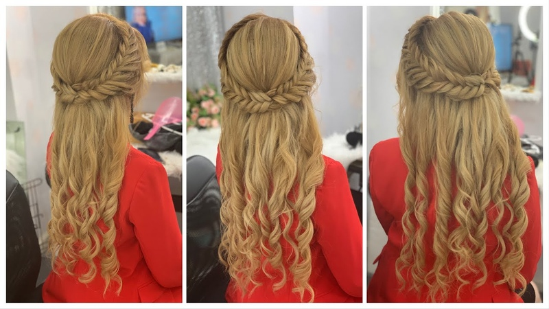 Step by Step to make hairstyles half bun with braids loose waves. Loose Curls.