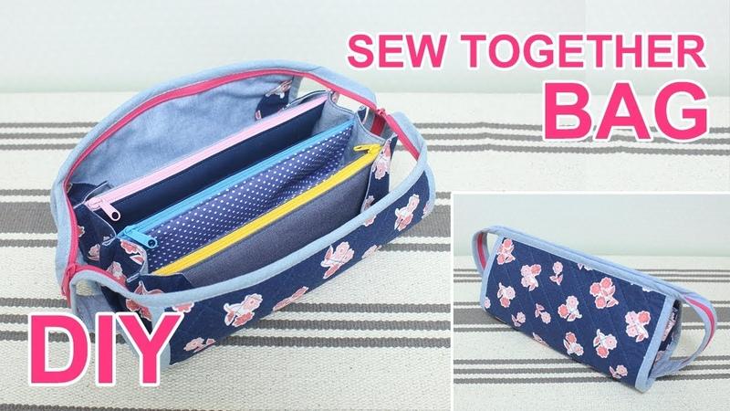 DIY Sew Together bag   지퍼 칸칸 소잉파우치 만들기   sewing a bag together  マルチポーチ作り方 sewingtimes