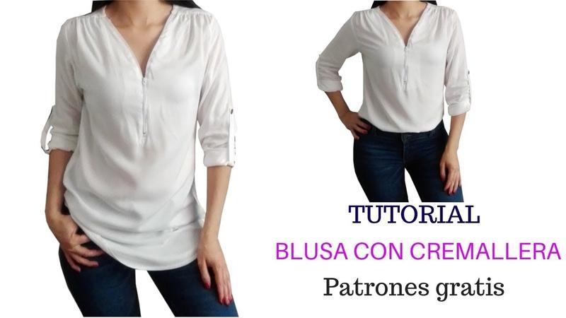 DIY Como hacer una blusa con cremallera y recogido en el hombro corte y confeccion