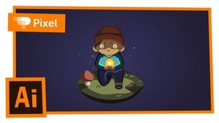 Рисуем мальчика с находкой в Adobe Illustrator (школа Pixel)