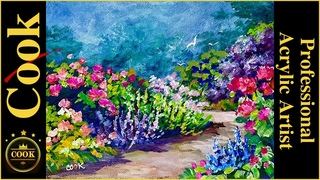 English Garden Pathway  Quarantine Quickie #13 Acrylic Painting with Ginger Cook