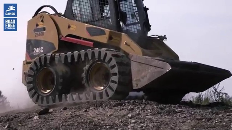Skid Steer Loaders tracked performance with Camso Rubber OTT over the tire tracks