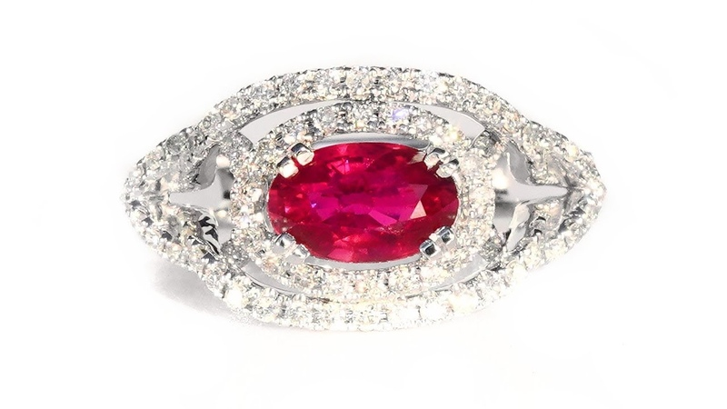 UNHEATED Vivid Red Ruby and Diamond Vintage Cocktail Ring 14k White Gold 2.08tcw Top Color Estate
