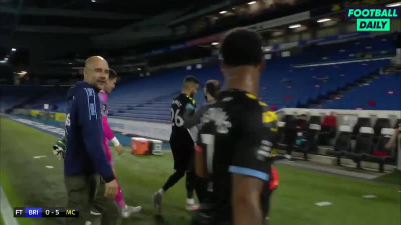 Pep Guardiola telling Raheem Sterling that he didnt score the third goal then taking the match ball of of him
