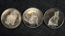 3 монеты 1 фунт Остров Сторма. Кошки 2017 года.