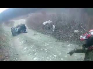 Авария квадроцикл наехал на мотоцикл