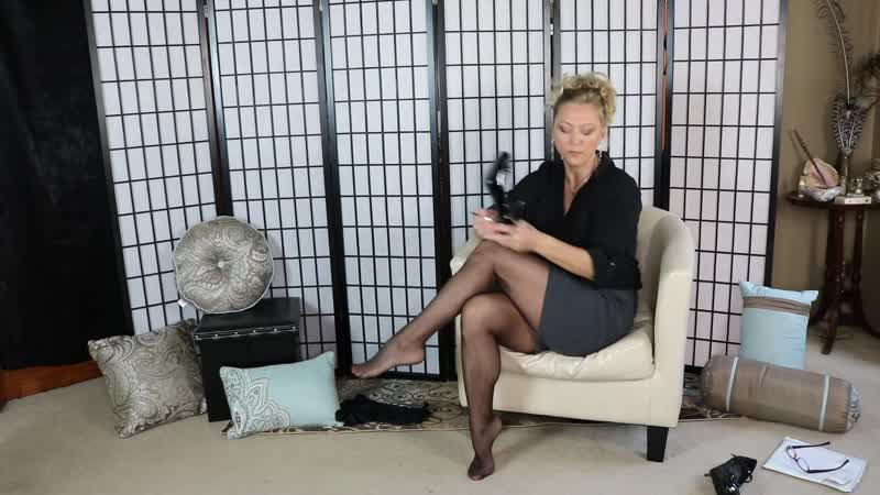 (185) High Gloss Pantyhose Review and Try on in my Mini skirt and high heel shoes - YouTube