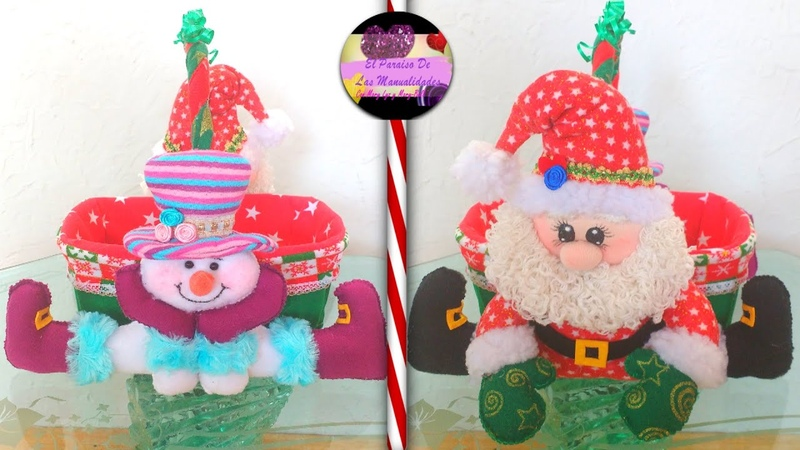 Canasta o dulcero navideño de dos caras muy económico Moldes Gratis Epdlm