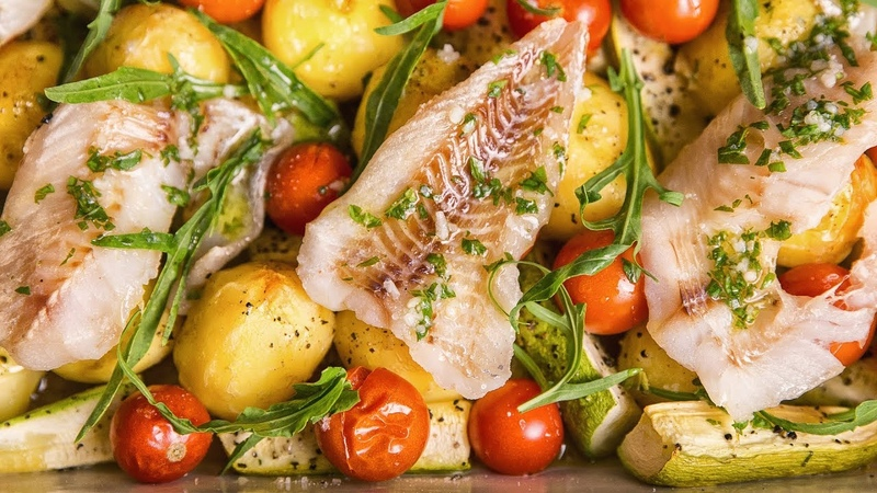 ASMR Cooking Sounds Baked Fish With Courgettes and Potatoes