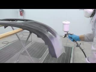 Покраска нового бампера через грунт HB Body 411 с добавлением PlastoFix 340