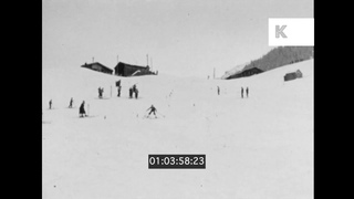 1920s, 1930s, Austria, People Skiing at St Anton Holiday Resort, Home Movies, 16mm