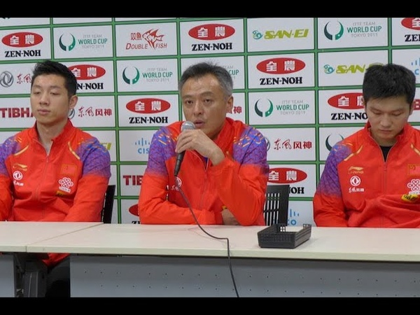 Men's Team CHINA on Press Conference at ZEN NOH 2019 ITTF World Cup