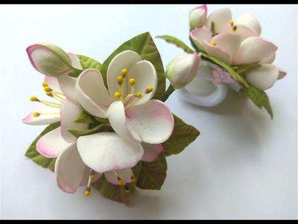 Меня покорил этот Простой способ🌿 Яблоневый цвет из фоамирана на резинке 🌿