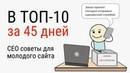 Поисковое СЕО продвижение молодого сайта. В ТОП за 45 дней. Видео №15