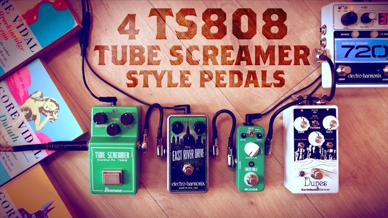 4 TS808 Tube Screamer Style Pedals (Ibanez TS808, EHX East River Drive, Mooer Green Mile, EQD Dunes)