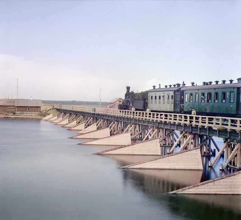 Железнодорожный мост через реку Шую у Петрозаводска, 1916 год. Автор фото Сергей Прокудин-Горский; Библиотека Конгресса США.