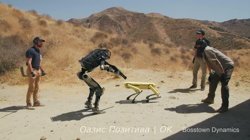 Робот солдат спасает робота собаку