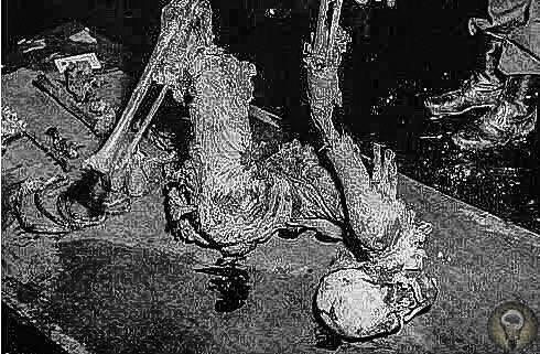 Останки 35-летнего мужчины, убитого на кожевенной фабрике, 1935 год. Для попытки избавиться от тела, труп пострадавшего поместили в бочку с 90 литрами серной кислоты, а после - с 50 литрами