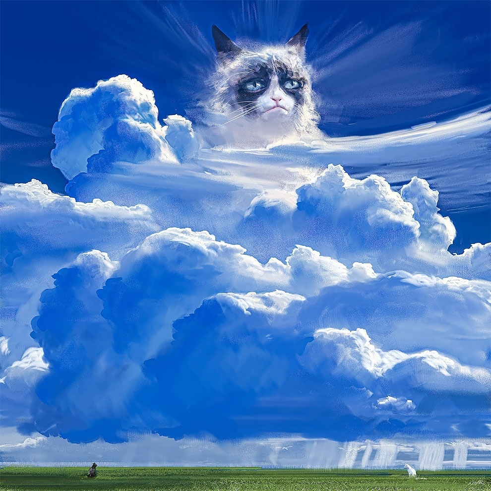 Норвежский художник Эспен Олсен Сотервик рисует нежные картины с мемными котами
