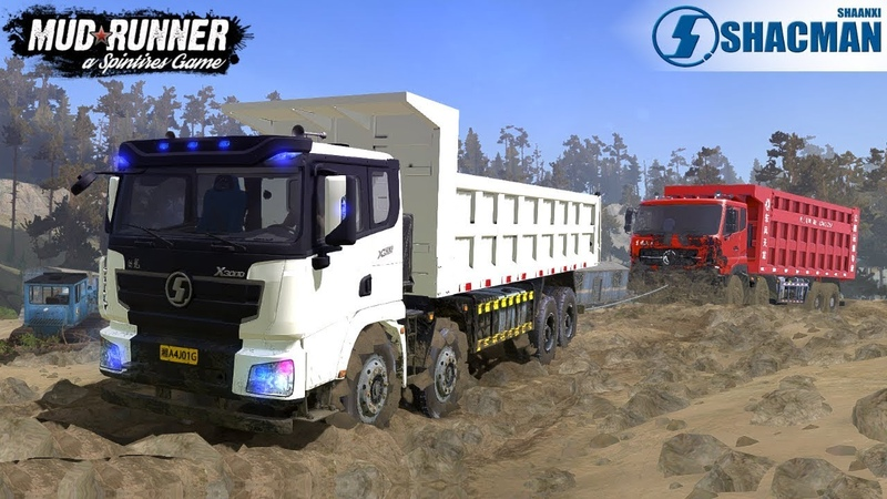 Spintires: MudRunner - SHAANXI DELONG X3000 Towing a Broken Dump Truck from a Quarry