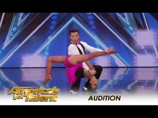 Quin & Misha - 71 летняя танцует с партнером 32 - вот как надо форму держать (В Америке есть таланты – 13-4)