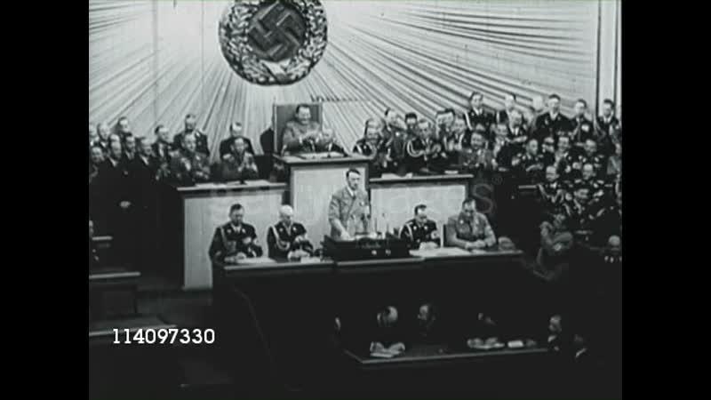 Канцлер Германии Адольф Гитлер - выступление в Рейхстаге (Берлин 1941)