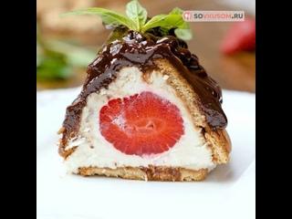 Творожный десерт с клубникой (Ингредиенты под видео)   Больше рецептов в группе Шеф кондитер