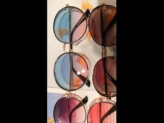 Женские солнцезащитные очки qpeclou, роскошные круглые с металлическим градиентом, сияющие оттенки