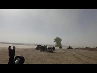 Бойцы пешмерги уничтожили шахидмобиль ИГИЛ. Взрывная волна. (Сирия, ирак, Мосул, война, взрыв, подрыв, бомба, смертник)