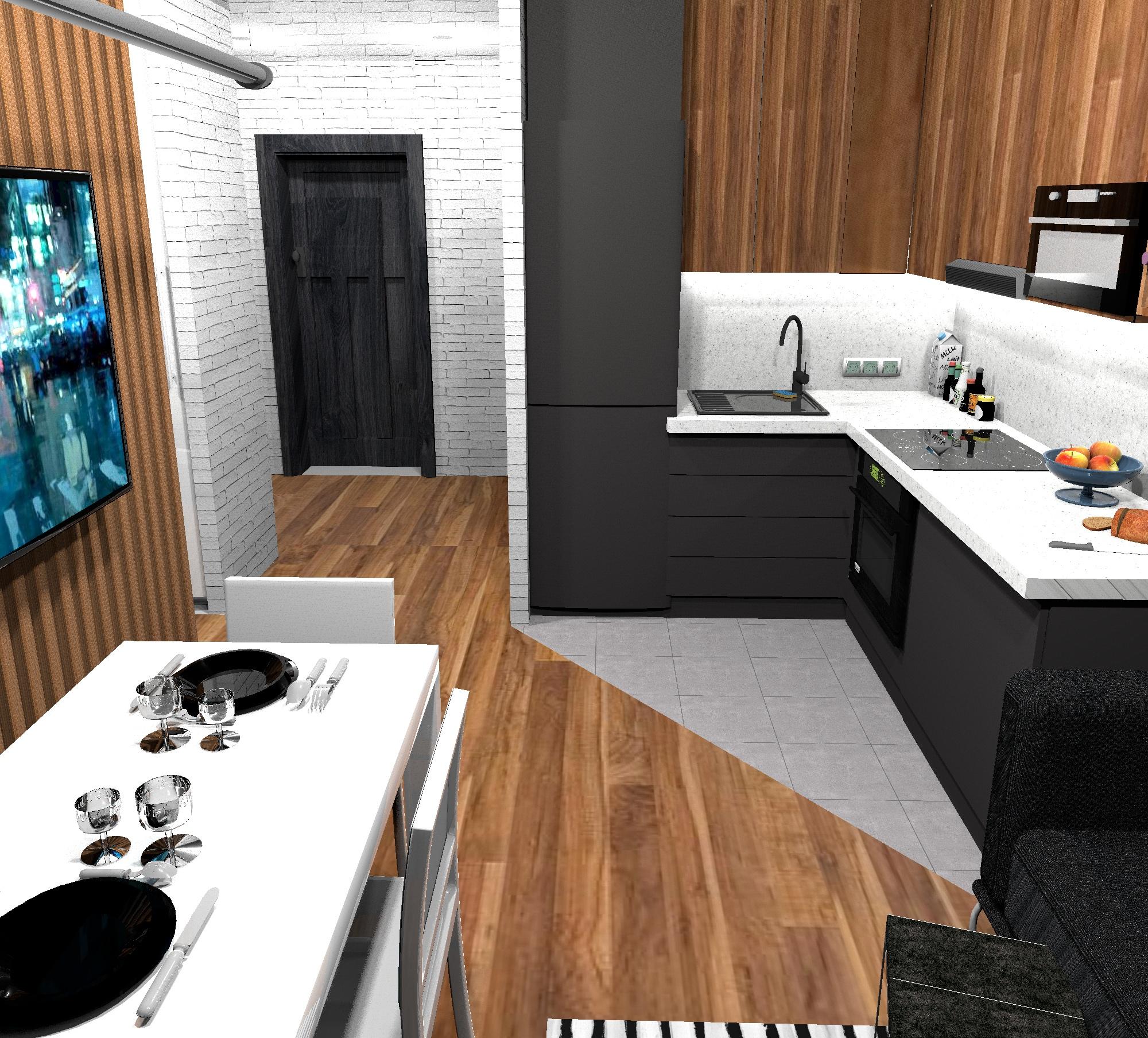 Проект квадратной квартиры-студии 25 кв/м.