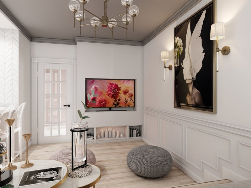 Проект квартиры 24 м (с балконом – 27 м) с выдвижной кроватью в подиуме.