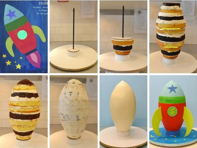 Как сделать вертикальный торт в виде ракеты из коржей - фото сборки торта
