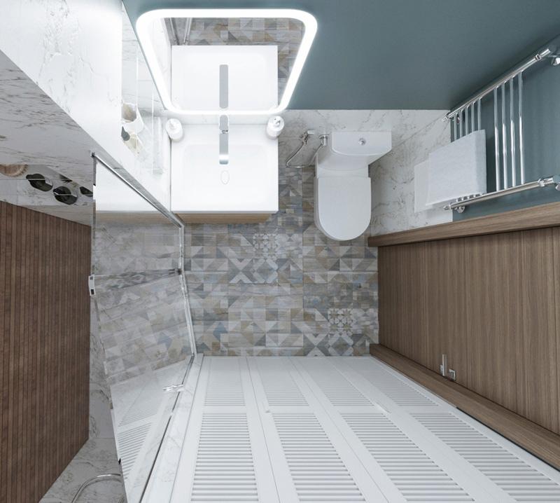Концепт квартиры-студии 30 м с разворотом кухни и спальной нишей.