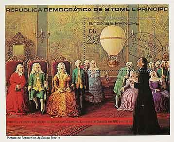 """На этом рисунке «летающий корабль» и вовсе превратили в маленький воздушный шарик. Марка 1970-х годов """"Святой Фома и принц"""", изображающая момент, когда Бартоломеу де Гужман представил свой самолет в Casa da ndia португальской знати."""