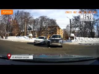 Видеорегистратор. ДТП Матиз на красный в Кирово-Чепецке. Место происшествия