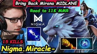 Nigma Miracle  Mirana  Midlane Road To 11K MMR  vs AM Eblade Build Dota 2 perspective pro Gameplay
