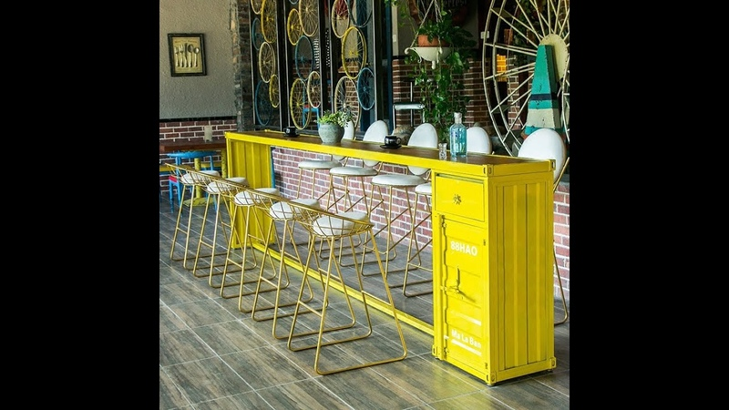 Container styling bar home decoration bar table and chair creative retro table