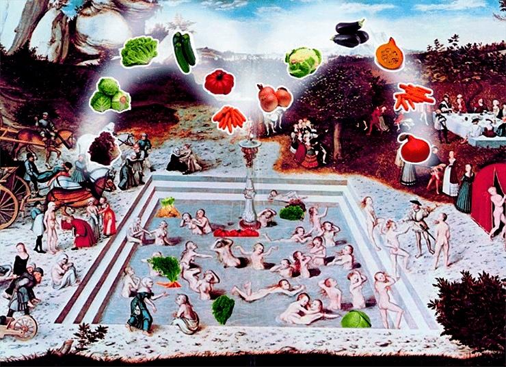 В 16 веке Лукас Кранах Старший, мечтая вновь стать юным, написал картину «Фонтан молодости». Если бы Лукас знал нутригеронтологию, то он изобразил бы фонтан молодости именно так. Рисунок с сайта germany-art.com, адаптирован.