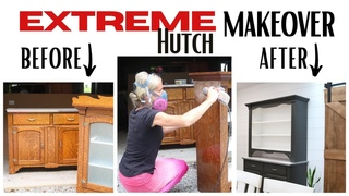 Extreme Hutch Makeover ~ Painted Furniture DIY ~ Before and After Furniture ~ Furniture Makeover