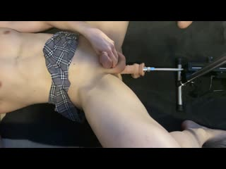 Straight guy in skirt getting boner  prostate squirting from fuck machine