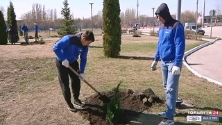 """Хоккеисты «Лады» высадили деревья рядом с комплексом «Лада-Арена» (""""Новости Тольятти"""" )"""